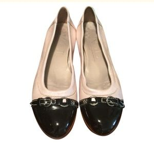 Patent Black & Metallic Blush Leather Buckle Flats